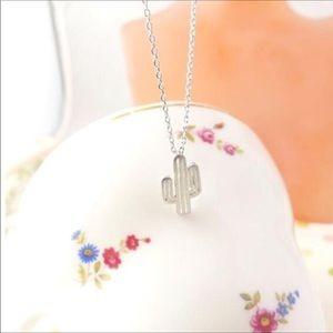 Dainty Silver Cactus Necklace